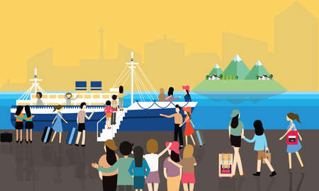 port: sea port busy activities people passenger entering the boat to cruise travel vector cartoon Illustration
