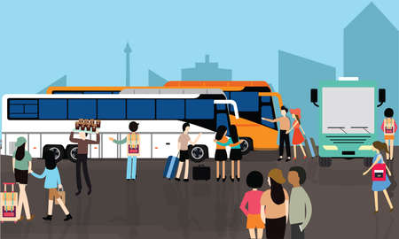 bus station: bus station stop busy people crowd transport city street vector