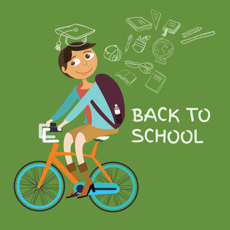 go back: student college riding bicycle go back to school class riding icon graduation