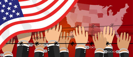 democracy: us USA human rights freedom in america united states democracy hands handcuffed border vector