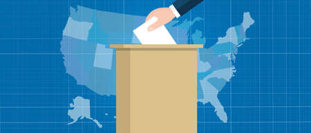 polling booth: usa map vote election hand holding ballot paper into box US united states of america vector