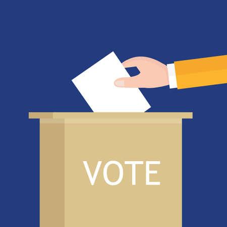 encuestando: elecciones mano que sostiene papeleta en la caja parlamento presidencial senador ilustración vectorial concepto