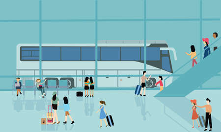 arrive: bus terminal station bussy activities people arrive departure go for travel vector
