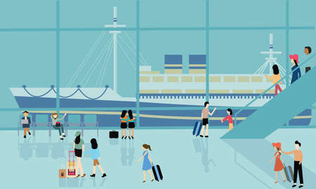 cruise travel: sea port cruise boat busy activities people arrive departure go for travel transit Illustration