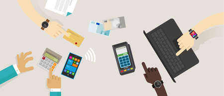 Opzione di pagamento superiore scrivania mobile NFC rfid carta di credito edc elettronica di acquisizione dati on line acquistare transazione illustrazione vettoriale contanti contatto meno