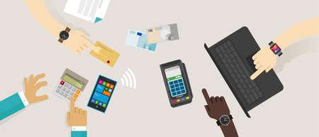 Zahlungsoption Top Schreibtisch mobil NFC rfid Kreditkarte edc elektronische Datenerfassung Online-Transaktion Vektor-Illustration Bargeld Kontakt kaufen weniger