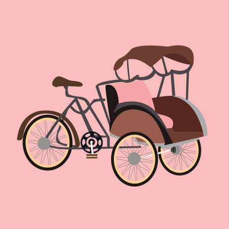 becak rickshaw indonesia jakarta icon flat vector illustration transport unique old vintage Vetores