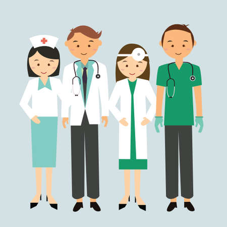 medically: medical team doctor nurse group worker standing together man woman mae female cartoon character illustration flat