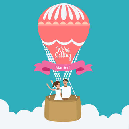 postcard background: couple we are married flying hot air balloon  cartoon flat illustration romantic Illustration