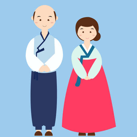 couple wearing korean traditional clothes costume asian wedding dress  Illustration