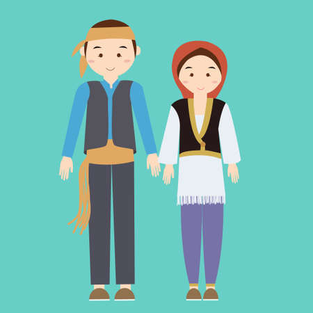 couple man woman turkish wearing turk turkey traditional costume clothes dress male female illustration flat