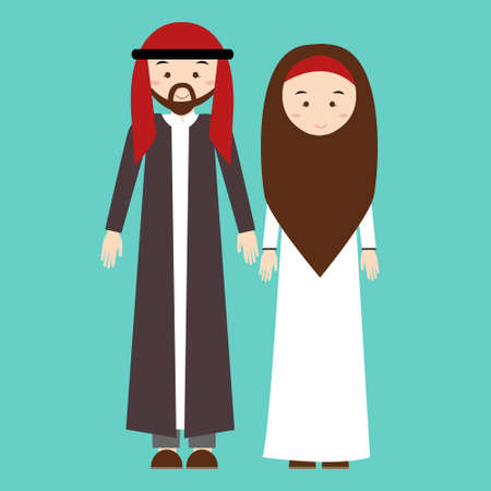 woman male: couple man woman wearing arab arabic traditional costume clothes dress male female illustration
