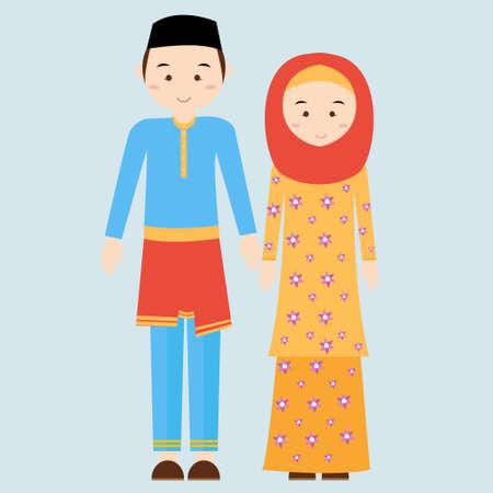 niño y niña: Pareja hombre mujer que lleva Brunei islámico tradicional de vestir traje de vestido de mujer hombre ilustración velo y malasia malayo plana