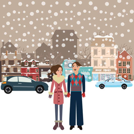 winter car: couple man woman male female standing in snow falling winter town wearing jacket car on street city flat