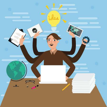 multitasking: business person male man multitasking hand holding paper work jobs illustration flat stressed busy idea Illustration