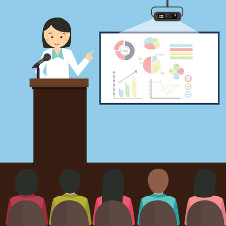 woman girl female give presentation presenting chart report speech in front of audience illustration cartoon Ilustração