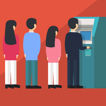 automated teller: people waiting in line queue to draw money from self-service ATM Automated Teller Machine cartoon illustration flat