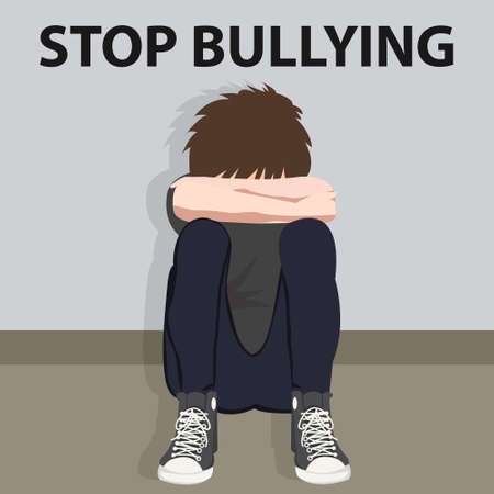 threat of violence: stop bullying kids bully victim young child bullied vector illustration cartoon