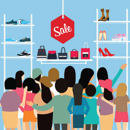 fashion bag: people crowd store sale discount shoe bag crowded shopping mall vector cartoon illustration cartoon