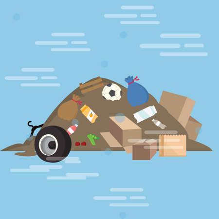 polluted: garbage pile waste product dirty vector cartoon illustration junk yard bulk