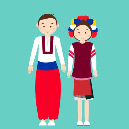 ukranian: couple wear ukraininan ukranian traditional clothes vector cartoon illustration custom