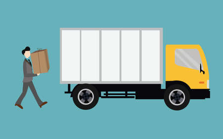 moving truck: people moving bring box into truck container transport Illustration