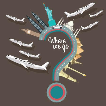 dónde vamos viajando lugares pregunta avión marca de destino del vuelo alrededor del mundo ilustración vectorial de dibujos animados