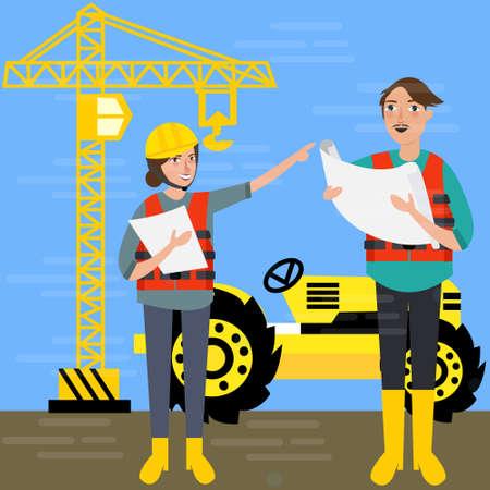 contractor: construction worker wearing helmet safety in front background crane tractor building vactor