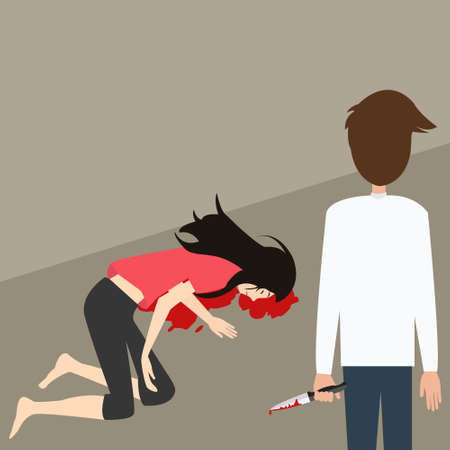 murder scene: murder case man stabbed woman with knife blood vector illustration cartoon
