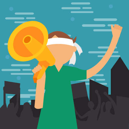 woman fist: demonstration young man yelled at megaphone loud speaker shouting vector illustration protest demonstrate cartoon