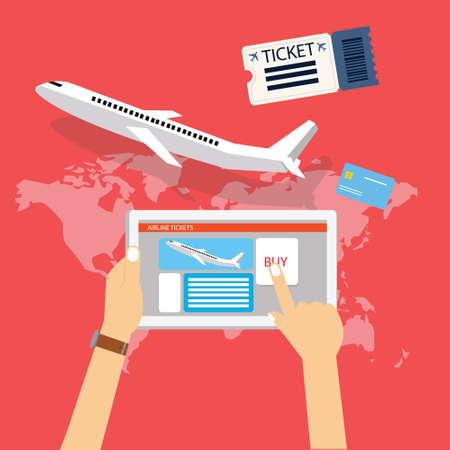 website icons: book buy plane flight ticket online via internet for travel with tablet computer vector Illustration