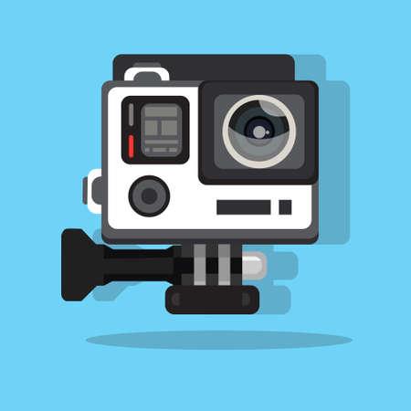 high definition photo video go camera pro action flat vector illustration car Vettoriali
