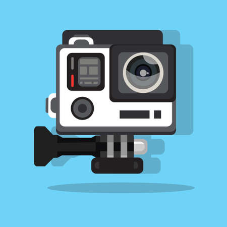 high definition photo video go camera pro action flat vector illustration car