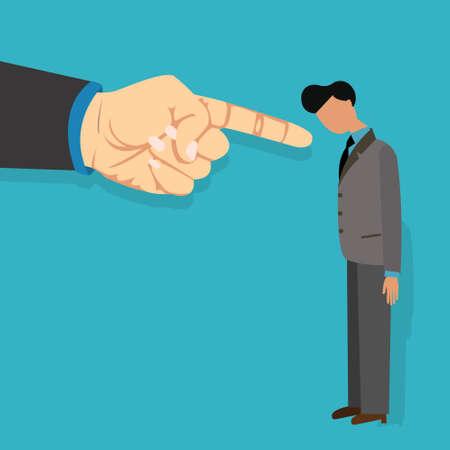 werknemer schuld door baas ontslagen vinger wijzen beschuldigend vector illustratie cartoon bedrijf