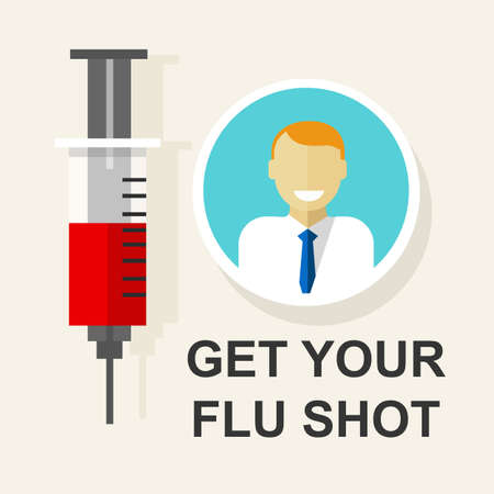 influenza: get your flu shot vaccination vaccine vector illustration drawing