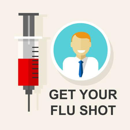vacuna: obtener su vacuna contra la gripe disparo de vacunaci�n ilustraci�n vectorial dibujo Vectores