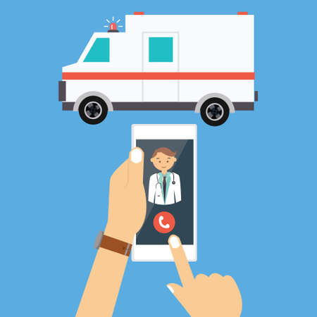 medical emergency service: call ambulance car doctor via mobile phone medical paramedic emergency vector illustration drawing