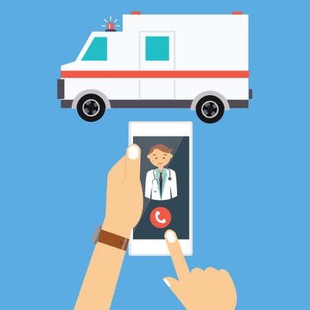emergencia: doctor del coche ambulancia llamada a través del teléfono móvil paramédico médica de emergencia ilustración vectorial dibujo Vectores
