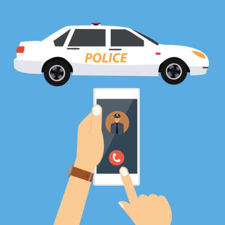 emergencia: llame al coche de policía a través de la emergencia del teléfono móvil ilustración vectorial dibujo Vectores