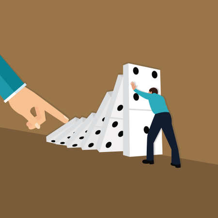 domino effect hand finger push dominoes concept consequences chain reaction vector illustration