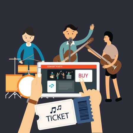 concert: buy music concert ticket online via mobile online internet vector