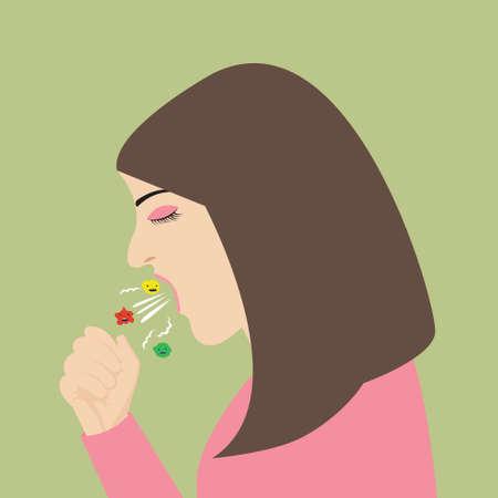 sneeze: woman cough sneeze spreading virus flu vector illustration