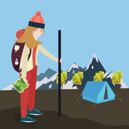 traveller: girls go hiking mouintain tent bring bag and map vector Illustration