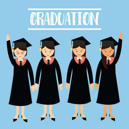 graduado: University College gawn graduación studentA chicas con el casquillo graduado
