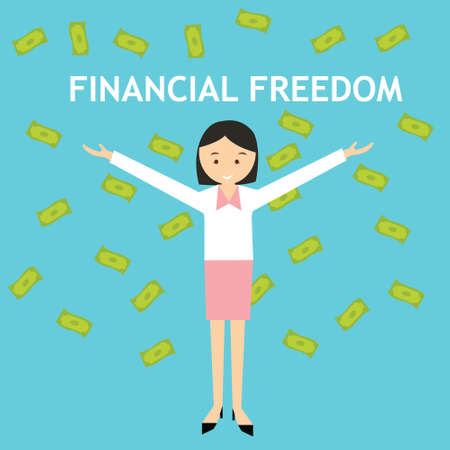 financial freedom: financial freedom woman standing money rain falling vector Illustration
