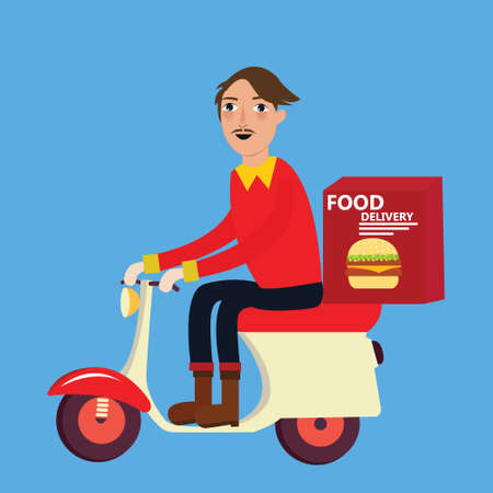 motorbike: man delivery fast food burger scooter motor cycle vector Illustration