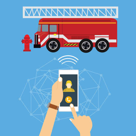 emergency light: emergency mobile phone call fire truck fireman vector Illustration