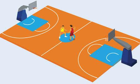 courts: basketball court arena match game basket player vector illustration Illustration