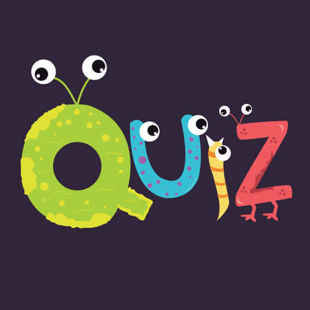 eye exams: quiz text fun kids character fun alphabet with eye vector