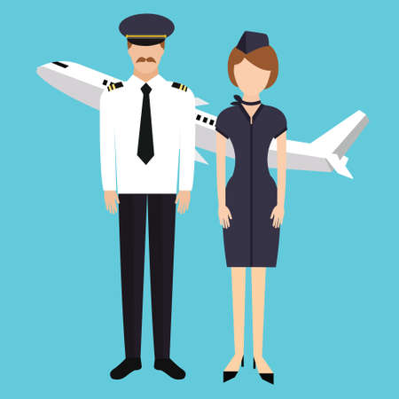 pilot stewardess flight attendance cabin crew in uniform plane vector character